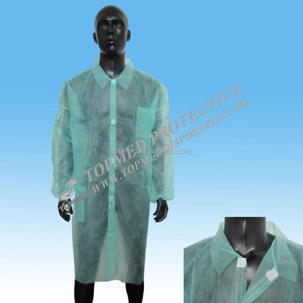 Free samples!PP+PE lab coat,Nonwoven MF gown, work clothing from Topmed in good price
