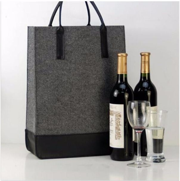 Promotional eco friendly polyester felt bag for beer bottle with many colours