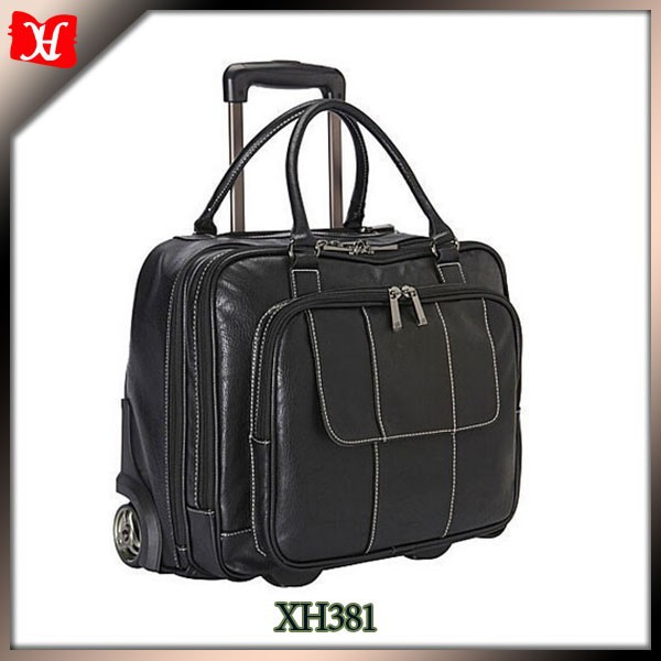 China wholesale wheely rolling PU laptop case bag