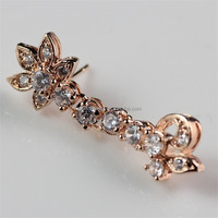Beauteous gift ! 18K Rose Gold Ladies Fashion Crystal Earrings for Lady