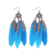 Wholesale cheap Bohemia Long Feather Earrings jewelry for women
