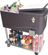 76L(80qt) stainless steel tray rolling cooler cart rattan patio party outdoor furniture