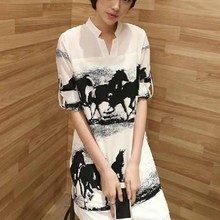 N3230 Hot Sale Long Chiffon Women Shirts Korea Design Maxi Short Sleeve Ladis T-shirt