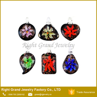 Assorted Color Handmade Italian Murano Glass Floral Pendant