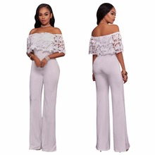 Premium polyester over stock lace women pants sexy ladies lace white jumpsuit