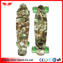 Semi-transparent light green PU wheels plastic cruiser skateboard