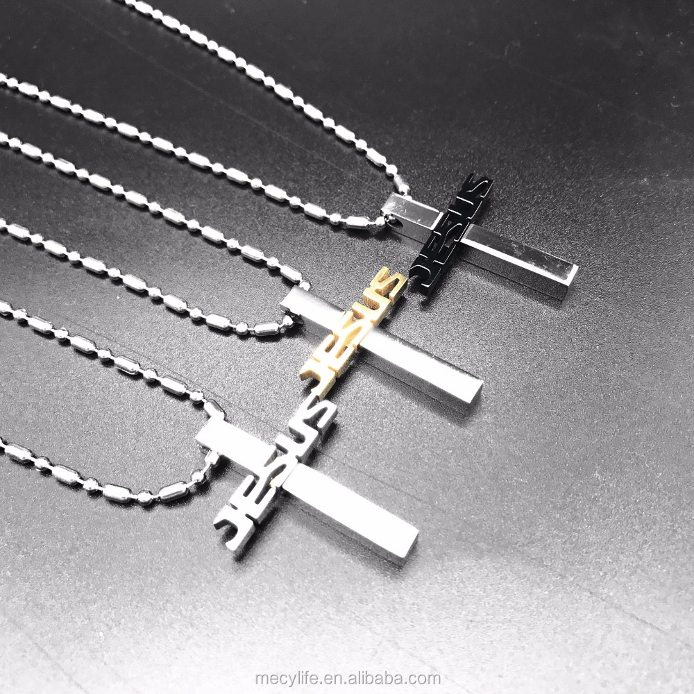 MECYLIFE Religious Cross Necklace Stainless Steel Jesus Cross Christian Jewelry Pendant