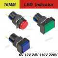 dia.16mm led indicator light round head, square head rectangular head 2pins