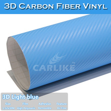 SINO Air Free Stretch Light Blue Car Wrap Vinyl Sticker 3D Carbon