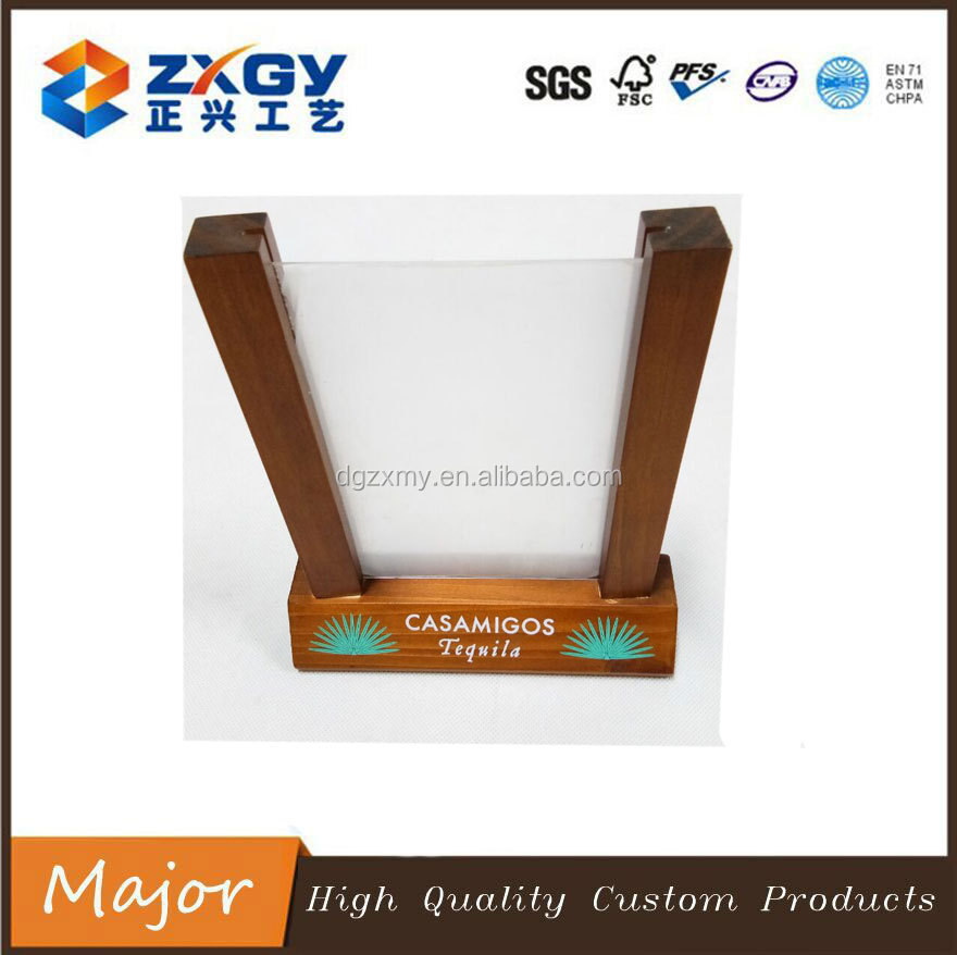 New Style Acrylic Photo SGS Approved Acrylic Photo Frame With Wooden Base Customized Clear Acrylic Photo Frame