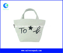 recycle canvas tote bag custom logo with side label