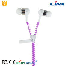 High quality computer accessories colorful zipper earphone