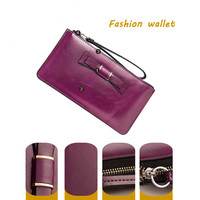 High quality bowknot long wallet for women Genuine leather women's wallet European and American style girls wallets