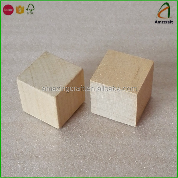 Wholesale Maple Wooden Square Blocks Craft Wood Cubes,Great for Children Play Games