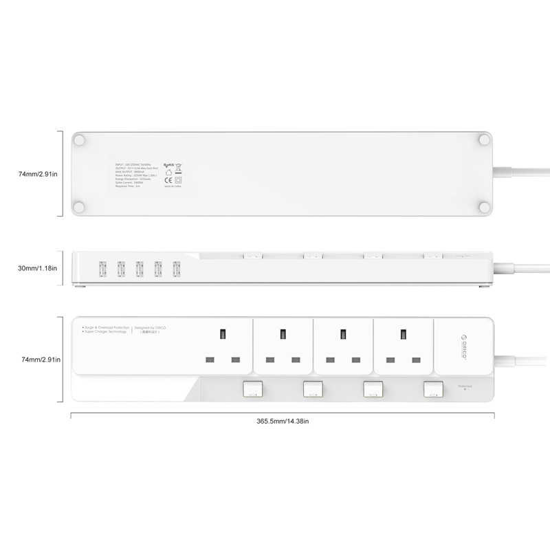 High quality USB power strip,Orico OSJ-4A5U-UK socket with 5 usb ports