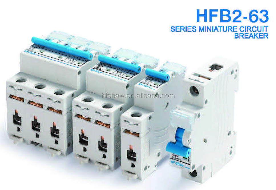 (High Quality) HFB2-63 Series miniature circuit breaker with cover, MCB, Mini Circuit Breaker with transparent plastic cover