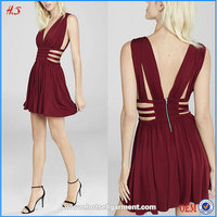 Deep V- neck Red Grecian Pleated Cutout Mini Skirt Sexy Dress Latest Fashion Dresses With Sleeves With Pleats At Shoulders