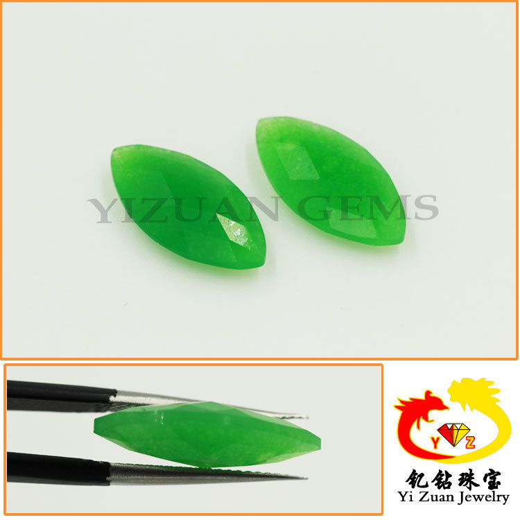 Natural Marquise Double Checker Cut Dyed Nephrite Green Jade Rough
