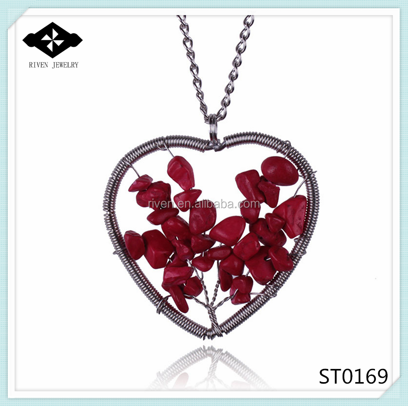 ST0169 personalized Lady\'s 2015 Hot Stone Jewelry Ruby Red natural stone handmade heart-shaped pendant necklace.jpg