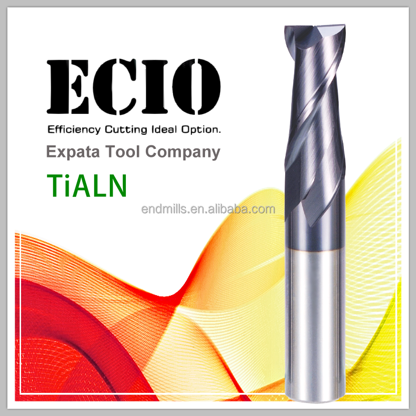 High quality 2 flutes square solid carbide end mill cutter tool with TiALN coating