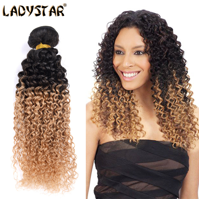 LADYSTAR Ali Top Brand Malaysian Ombre Kinky Curly Hair Four Bundles 8A Virgin Malaysian Hair Natural Black & Honey Blonde Color