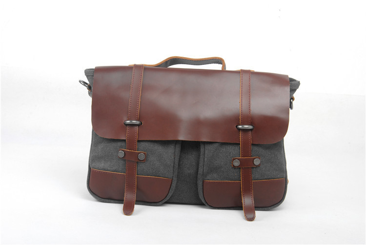 Customized canvas laptop messenger bag for women