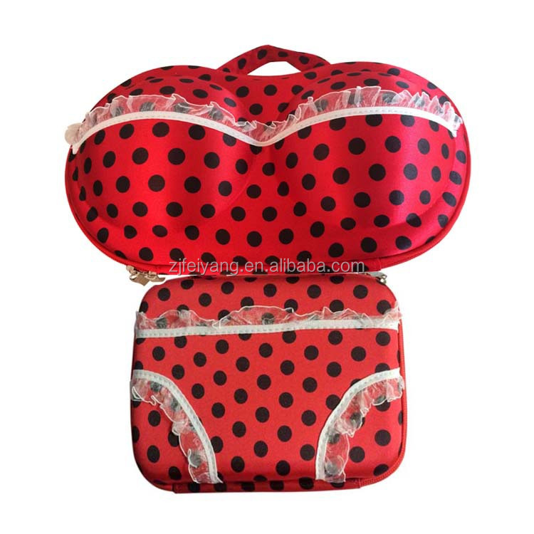Fashion design colourful EVA travel Bra panty bag set