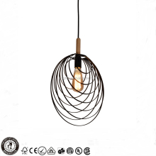 New design wooden indoor bedroom metal round pendant light