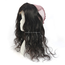 New arrival Natural Black Brazilian Virgin Human Hair Body Wave Lace Front Wig 360 Frontal Lace Closure and Bundles