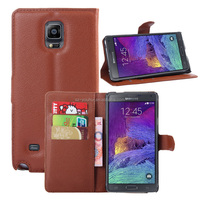 Wholesale Folio Stand Case for Samsung GALAXY Note 4 N9100 PU Leather Flip Cover with Wallet