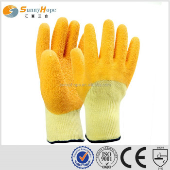 10 Gauge yellow palm Latex Coated String Knit Gloves