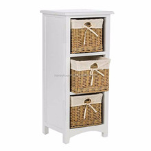 FSC home decor living room paulownia wooden storage cabinet with ratten basket