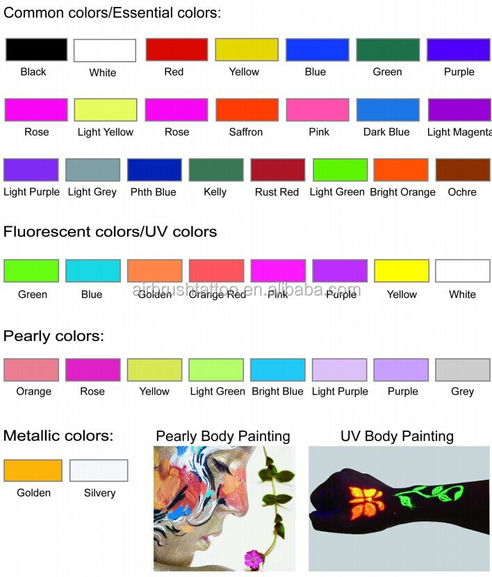 neon body paint 6 colors for choice colored drawing pigment water