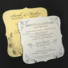 Unique design laser cut English laser marking acrylic wedding invitation card