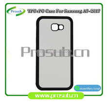 2d sublimation heat transfer PC +TPU silicon blank cell phone case with metal sheet for Prosub-Samsung A7-2017