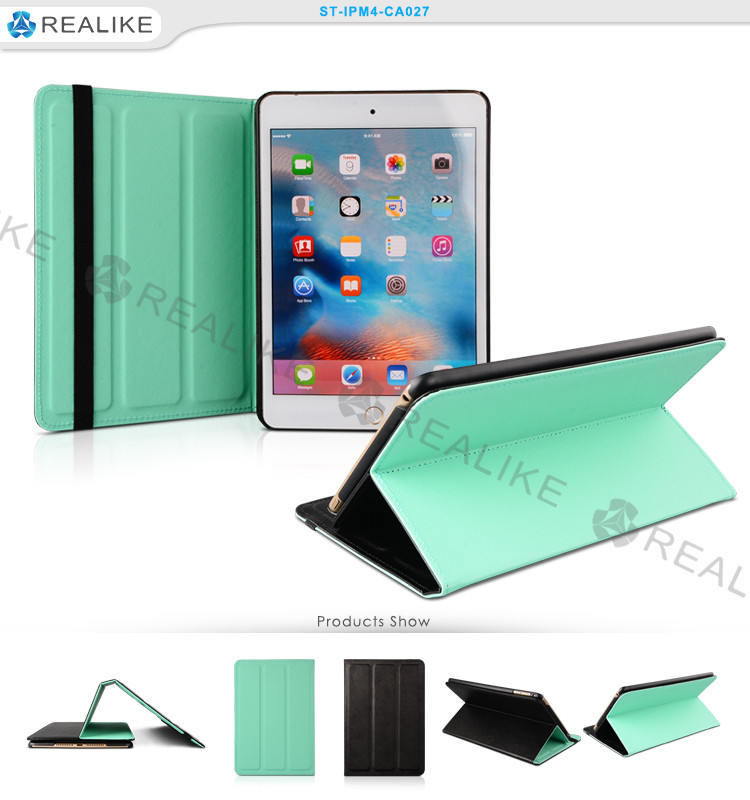 Auto wake up and sleep cover for ipad mini, leather tablet pc case for ipad mini 4
