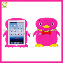 New factory creative and lovely penguin design silicone rubber shockproof for mini ipad case