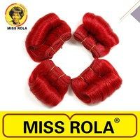 Large stock Miss Rola hair extension afro-b 4 pcs red human hair weaving