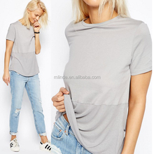 Fashion Women Wholesale Custom Plain Dyed Cotton Super Soft Contrast Stitching Ribbed Panel T-Shirt