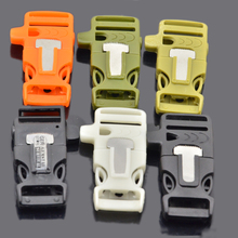 Side Release Whistle Buckles with Flint Fire Starter and Strike Flat Paracord Buckle for Paracord Bracelet
