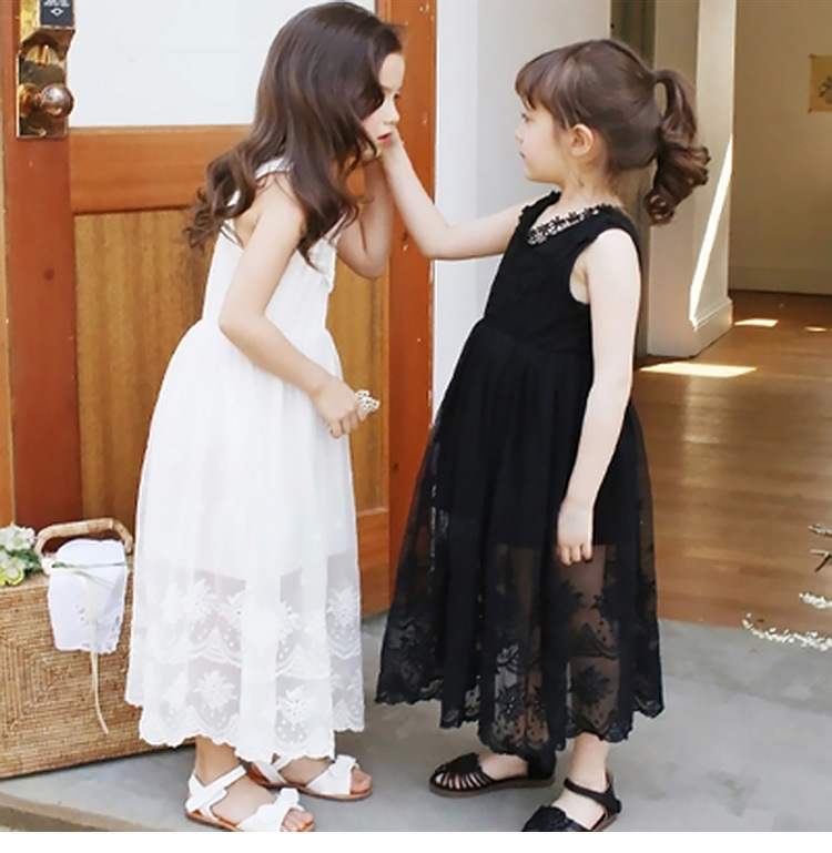 2016 summer kids white wedding dresses for girls Children's wear long princess flower girl dress patterns black 3-14years