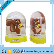 custom plastic snow dome with cartoon figurines / promotional oblate snowballs