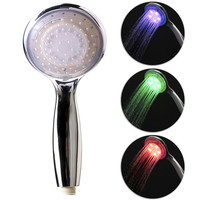 Free shipping 1 pc Light color Temperature Control led shower head target 8008-A1