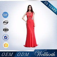 OEM Clothing Manufacturing Thai Red Silk Brazilian Evening Dress