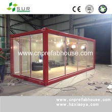 New Design Best Price 20ft glass panel container house restaurant with accessories