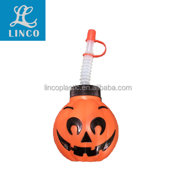Plastic Halloween Pumpkin Water Bottle Cup With Straw