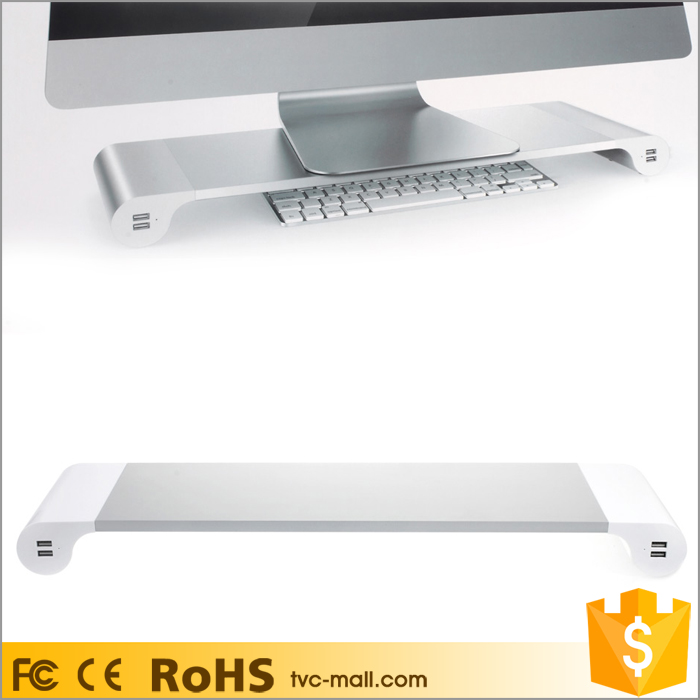 4 USB Ports Computer Monitor Stand Bar Desk Organizer With UK Plug