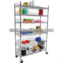 Adjustable 6 Tiers Chrome Commercial Wire Shelving,NSF Approval