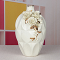 European luxury decor ceramic cream pleated vase with rose