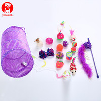 Cat Toy 17pcs/set Pet Kit Collapsible Tunnel Cat toy Fun Bell Feather Mice Shape Pet Kitten Dog Cat Interactive Play Supplies